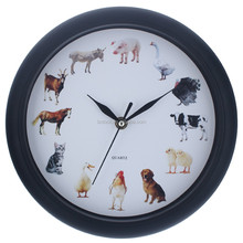 Reloj de pared campana animal sonido musical Reloj de pared plástico