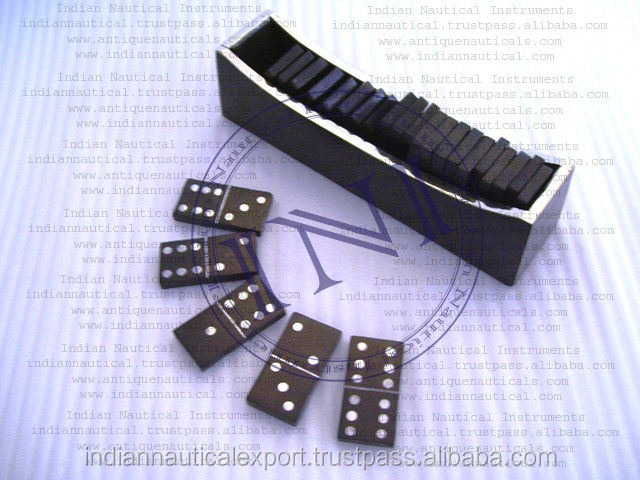 Classic Wooden Dominoes Game, Wooden Dominoes Game In Wooden Tray, Children Domino Game