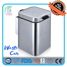 3 liters stainless steel square wall-mounted trash can,round wall-mounted pedal bin for hotel