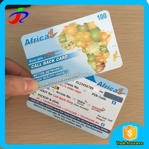 2017 new products scratch calling card in plastic card printing services