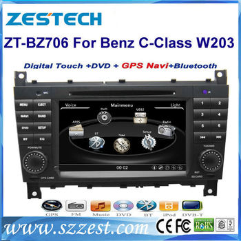 ZESTECH best price car dvd for Mercedes Benz W203 car dvd with GPS, buletooth, canbus, phonebook, RDS+factory