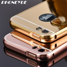 Gold Plated Metal Acrylic Aluminum Mirror Back Bumper Cell Phone Cover Case For iPhone For Samsung Galaxy S4 S5