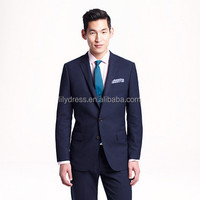 Navy Blue Two Buttons Side Vent Slim Fit Customized Made Mens Casual Suits Ternos(Jacket+Pants+Tie) CS007 Blazers
