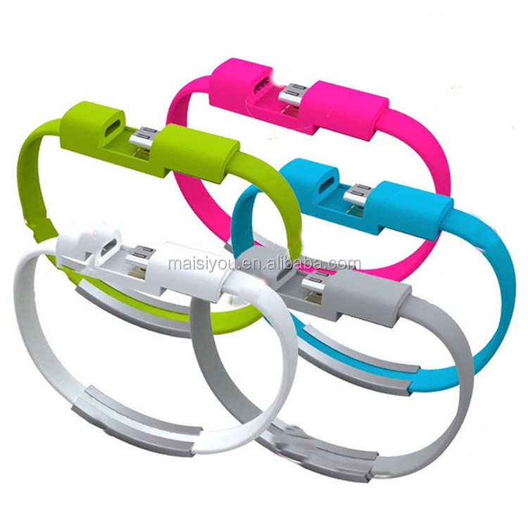 Portable fashion Silicon Universal Micro USB2.0 Wristband Charger cable for iphone/android/Portable source