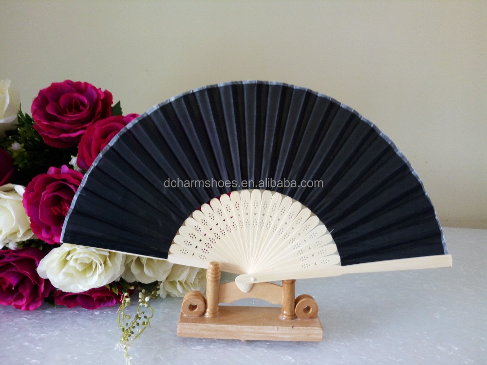 Personalised Chinese Silk Hand Held Folding Fans with hollow out <strong>bamboo</strong>