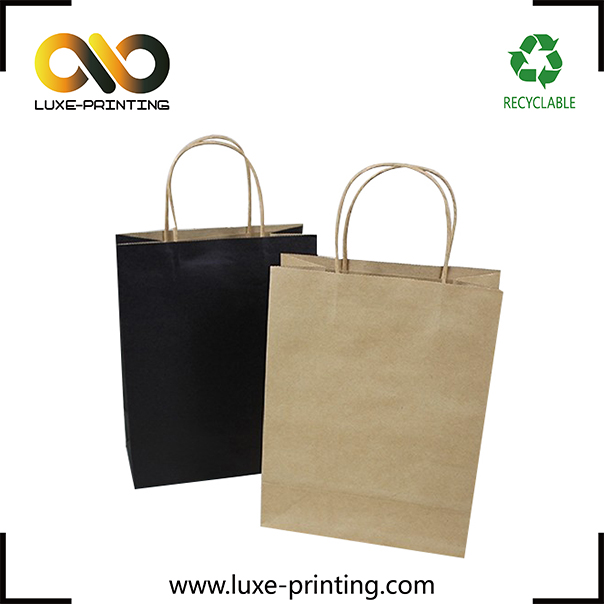 A4 size black paper bag brown craft twisted handles paper bag