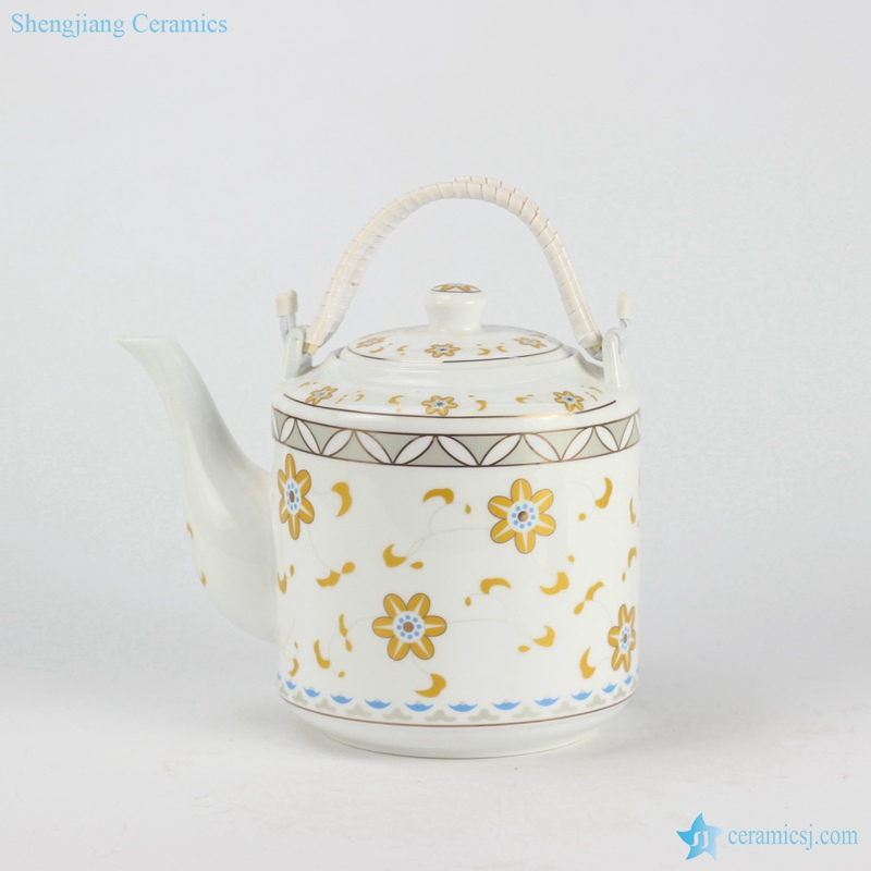 RZFS02 Home daily use golden floral pattern high temperature fired white porcelain large tea pot with double hoop handle and cup
