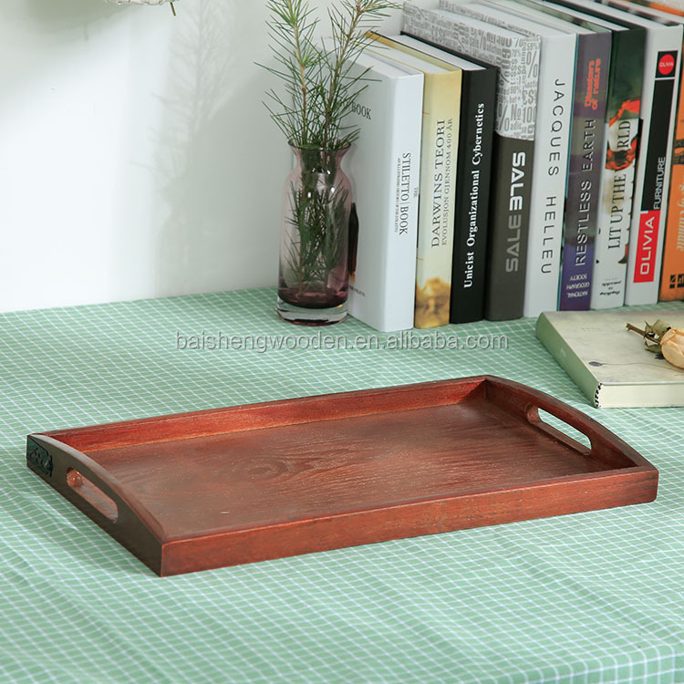 Wholesale custrom solid wood plate wooden traditional chinese tea serving tray