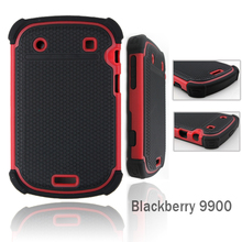 HARD SOFT COMBO HYBRID ARMOR COVER FOR BLACKBERRY BOLD 9900 BACK CASE