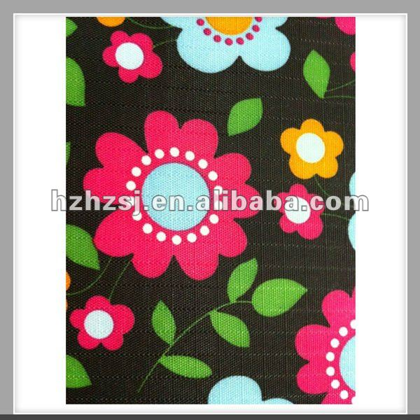 PVC coated 100% polyester flower design school print fabric