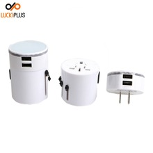Luckiplus Travel Adapter Universal Travel Adaptor Plug with 2 usb White