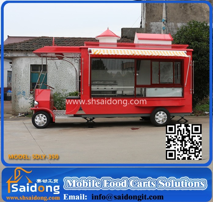 High quality cheap fees mobile food kitchen truck food cart cooking trailer/mobile food cart designers