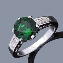 Jewelry Fancy New Woman's Emerald ring white Gold Filled Ring Gift