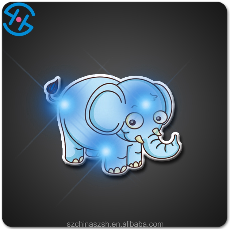 Cute Elephant shape LED Flashing badge for Party Decoration with cheap price