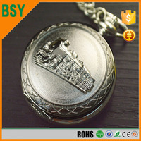 BSY Wholesale mechainical skeleton cheap old empty pocket watch with train
