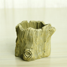 Hot selling garden decoration tree stump pot flower cement planter