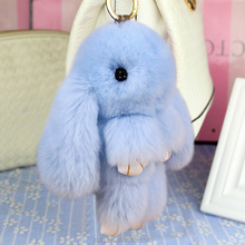 7 Colors Lovely Rabbit Furs Keychain Play Dead Rabbit Animal Keychain for Bag Car Hanging Pendant Toy Doll Ornaments