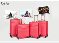 Pink pu leather customized laptop travel suitcase case luggage bag trolley