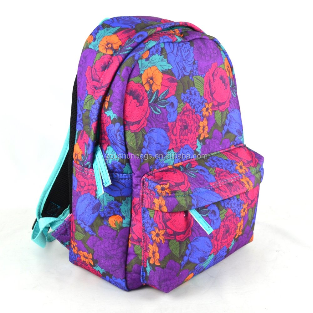elegant modena floral design laminated canvas women backpack