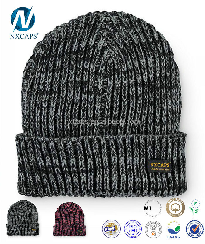 Custom Made Acrylic Knitted Blank Beanie Hat/Grey Plain Beanie Hat Winter Hat With Woven Label