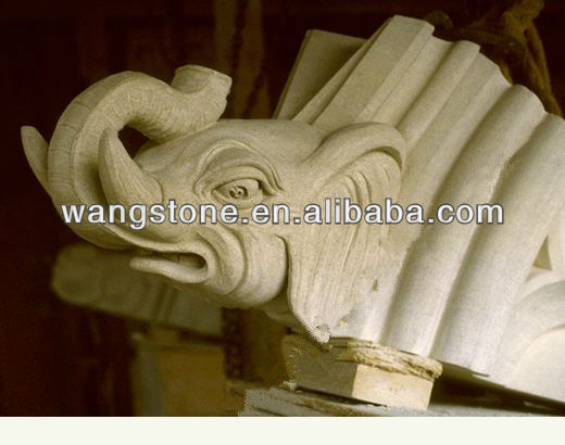 Indian White Granite Elephant Stone Carving
