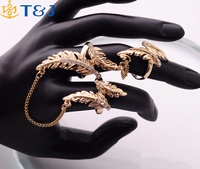 2016 YiWu Luxury Brand Gold Plated Jewelry Alloy Rhinestone Chain Two Finger Rings For Women Link Three Ring Tree Shaped Rings