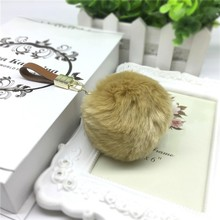 "4"" Luxury Bag Accessories Fake Puff Fox Fur Pom Pom Keychain Fur Ball Charm"