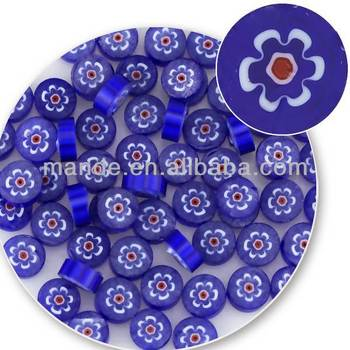 wholesale microwave kiln pre-cut blue millefiori glass to making glass beads jewelry