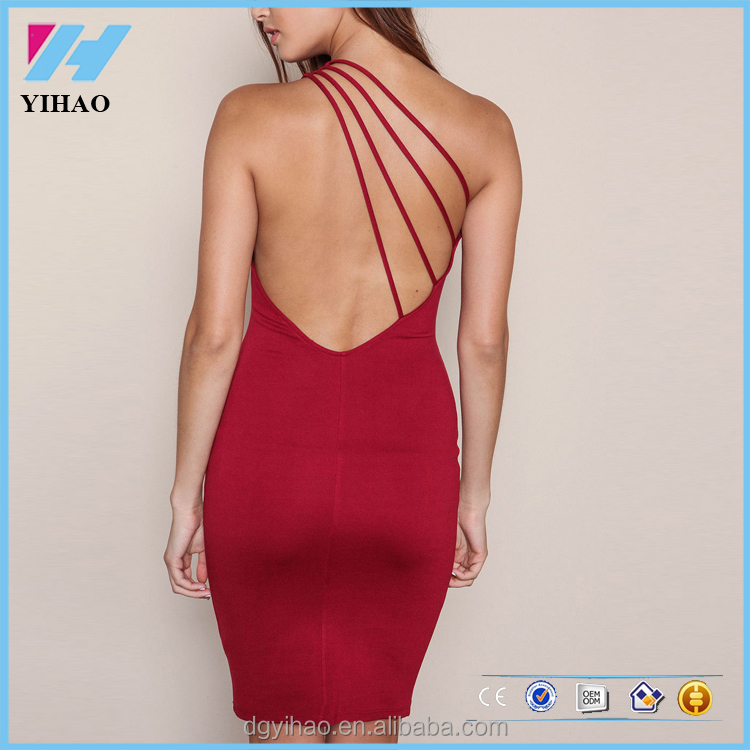 New fashion sexy bandage backless strappy design burgundy women 2016 hot sale dresses Vintage Party Evening Club Girl Clothes