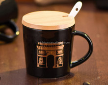 creative starbuck VIA coffee mug/cup with wooden cover and spoon