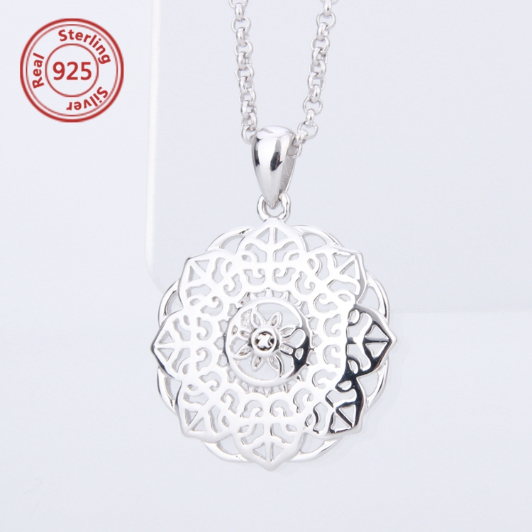 925 silver Bali-Inspired Round Filigree Pendant Necklace Sterling Silver Filigree