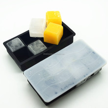 Large Cubes square silicone ice cube tray with lid, ice mold silicone ice cube mold tray, Custom Silicone ice cube tray