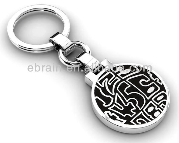 2013 High Quality Metal Custom Black Round Keychains