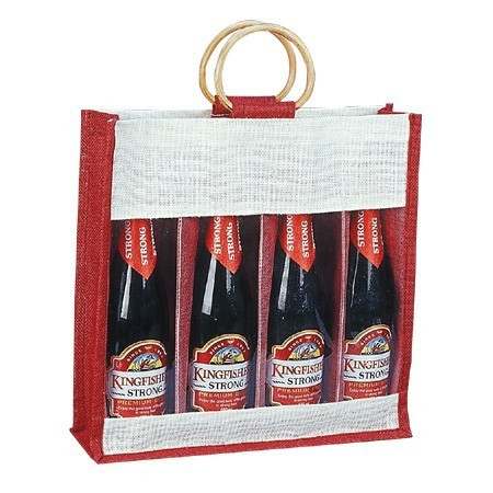 Eco-Friendly 4 Wine Bottle Jute Bag - features cane handles, plastic window and comes with your logo.