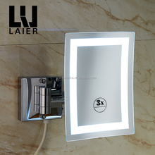 Wall vanity 2-side makeup led mirror with lights hotel bathroom luxury square magnifying mirror