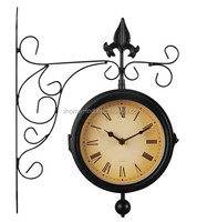 decorative home decor double faced clock antique outdoor clock with thermometers