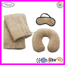 C712 Eye Mask, Neck Pillow, Blanket Travel Bedding Set Soft Velboa Custom Blanket Set