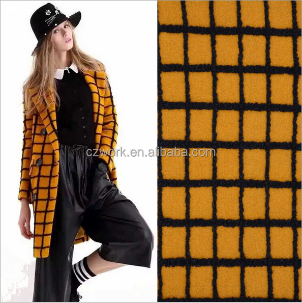Bright yellow checks jacquard wool acrylic blend fabric for coat