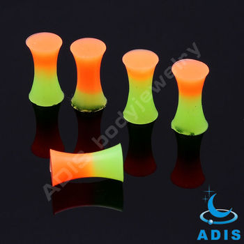 two colors orange and green silicone ear plugs piercing jewelry
