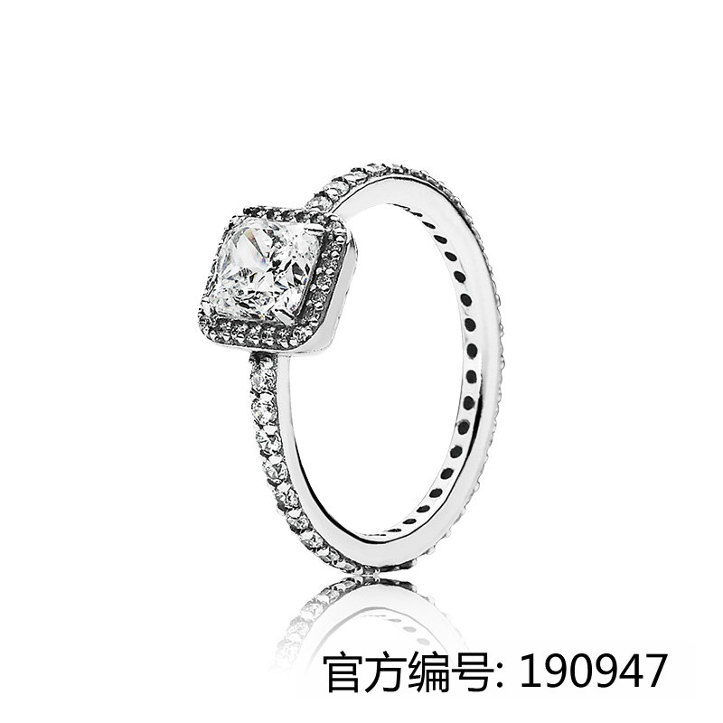 2017 New pure jewelry 925 silver engagement rings Square zircon rings for ladies for pandoras rings
