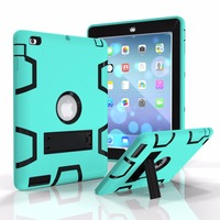 With kick stand Contrast color 3in1 TPU PC Strong Combo shell Shockproof hard back Case for ipad 2 3 4 Cover