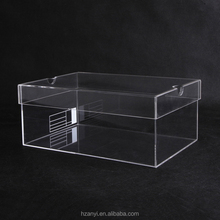 Custom Clear Perspex Sliding Lid Acrylic Shoe Box , Transparent Display Acrylic Shoe Box