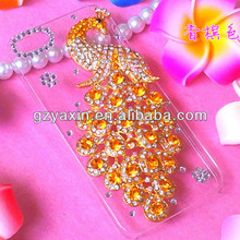 Peacock 2014 fashion mobile rhinestone phone case,crystal diamond bling case for iphone 5