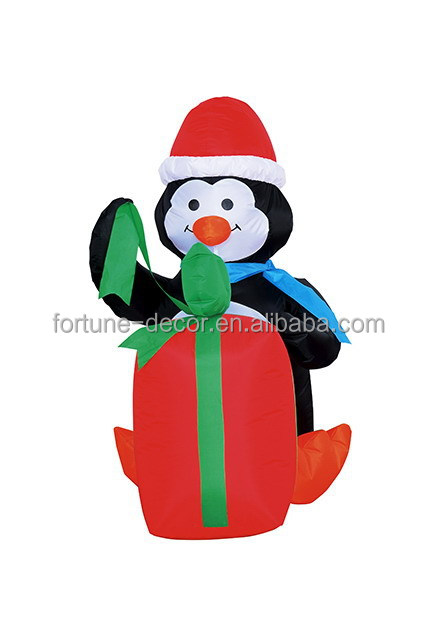120cm/4ft Christmas polyester inflatable penguin and gift box