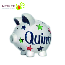 Custom cute stars animal pig shape piggy bank ceramic professional coin bank manufacturer