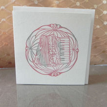 Accordion, Kiri-e, Japanese paper-cut style prints, Greeting Cards