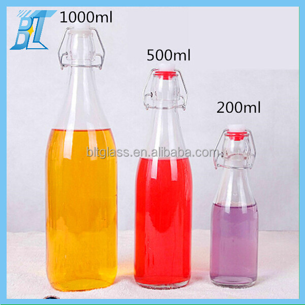 200ml 500ml 1000ml glass bottle with swing lock lid for syrup, juice, water
