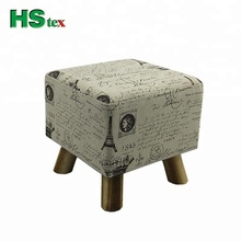 HStex unfolded wooden stools with 4 legs with fabric covered pouf