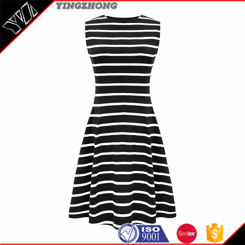 Stripe sleeveless dress female hedge A word skirt round collar of cultivate one's morality show thin vest skirt