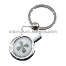 Irish Keyring - Four Leaf Clover - Good Luck - Round